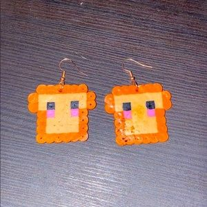 cute toast kandi earrings!